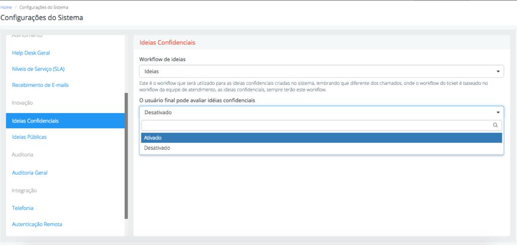 Configurar avaliação de ideias confidencias