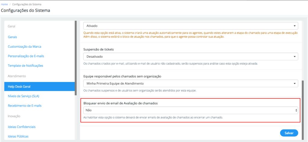Configurar envio de e-mail de avaliação
